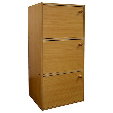 Elsinger 3-Shelf Natural Oak Bookshelf with Doors