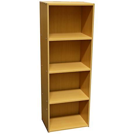 Elsinger 4-Shelf Natural Oak Bookshelf