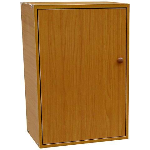 Cornutt Adjustable 2-Shelf Natural Oak Bookshelf with Door