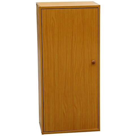 Cornutt Adjustable 3-Shelf Natural Oak Bookshelf with Door