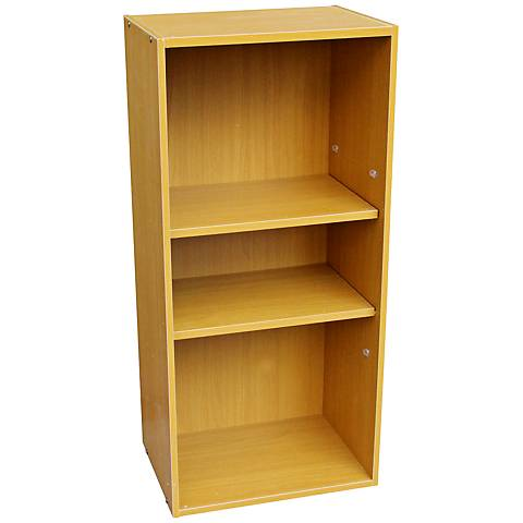 Cornutt Adjustable 3-Shelf Natural Oak Bookshelf