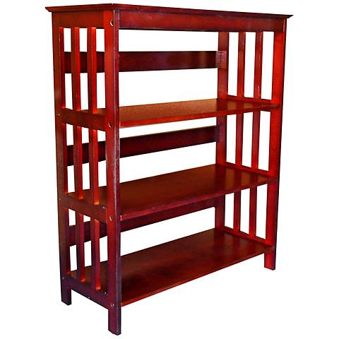 Tolton Mission-Style 3-Tier Cherry Bookcase