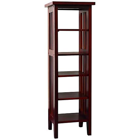 Tolton Mission-Style 5-Tier Cherry Media Storage Tower
