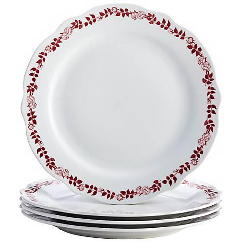 BonJour Yuletide Garland 4-Piece Porcelain Plate Set