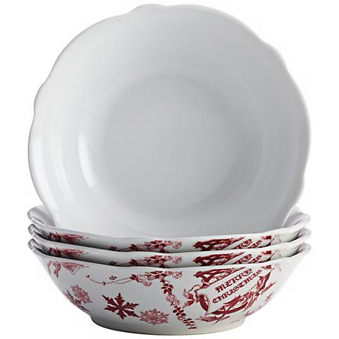 BonJour Dinnerware Yuletide Garland 4-Piece Bowl Set