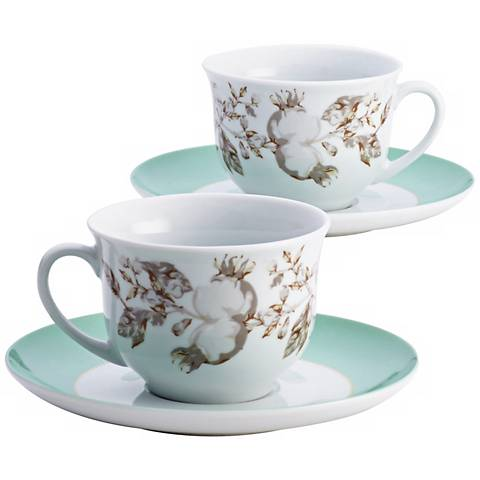 BonJour Fruitful Nectar Porcelain Teacup and Saucer Set
