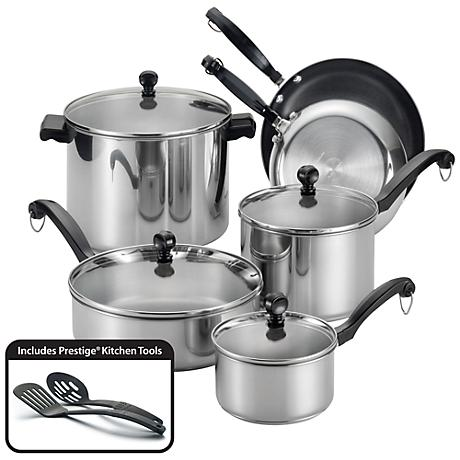 Farberware Stainless Steel 12-Pc Nonstick Cookware Set