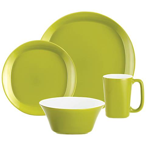 Rachael Ray Green Round & Square 4-Piece Dinnerware Set