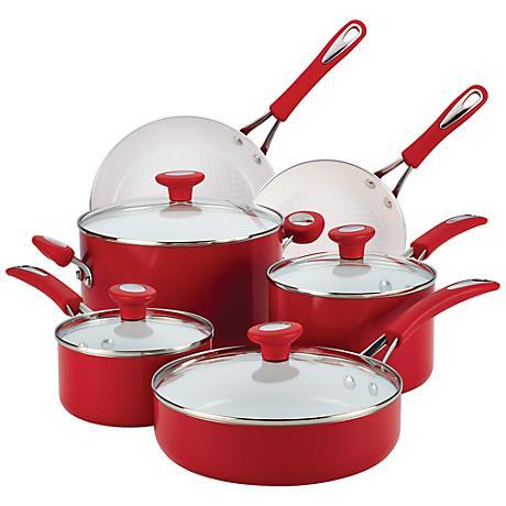 SilverStone Chili Red Ceramic 12-Piece Cookware Set