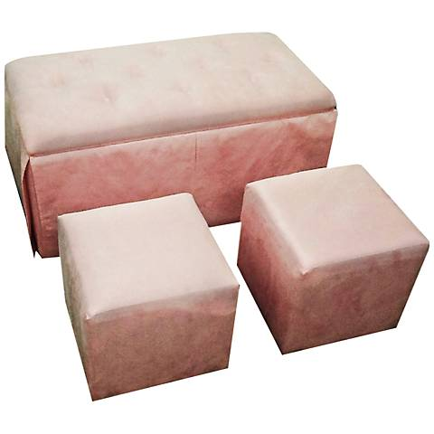 Elsie Pink Microfiber Storage Bench and Ottoman Set of 3