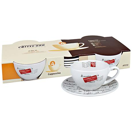 Coffee Bar No. 4 Cappuccino Cups and Saucers Set of 4