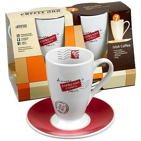 Coffee Bar No. 7 Irish Coffee Cups and Saucer Set of 2