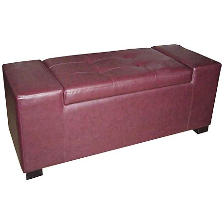 Ovadia Maroon Red Leather Match Storage Bench