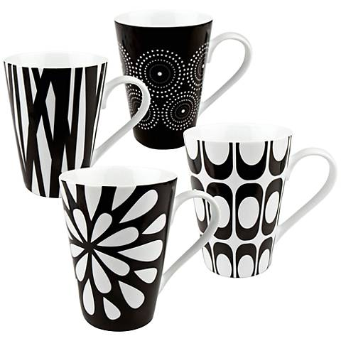 Assorted Cafe Latte Black and White Mug Set of 4