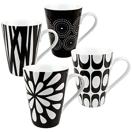 Assorted Cafe Latte Black and White Mug Set of 4