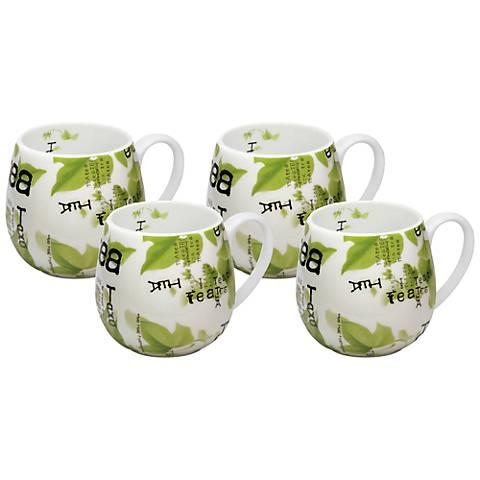 Green Leaf Tea Collage Snuggle Mugs Set of 4