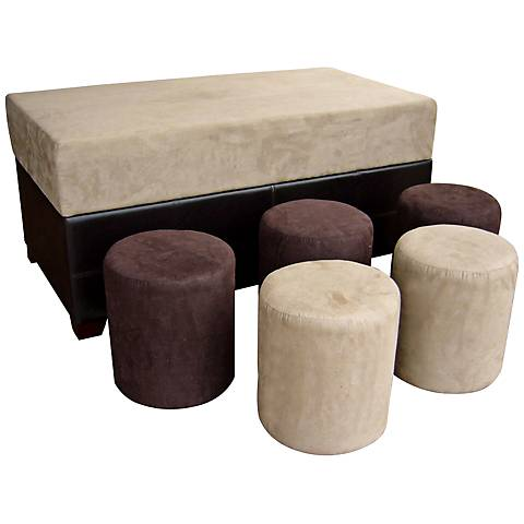 Burgh Brown and Beige 6-Piece Ottoman Set