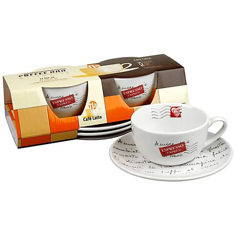 Coffee Bar No. 11A Caffe Latte Mugs and Saucers Set of 2