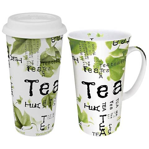 "Tea Collage ""To Stay"" and ""To Go"" 2-Piece Travel Mug Se"