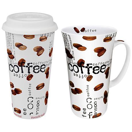 Coffee Collage 2-Piece White Travel Mug Set