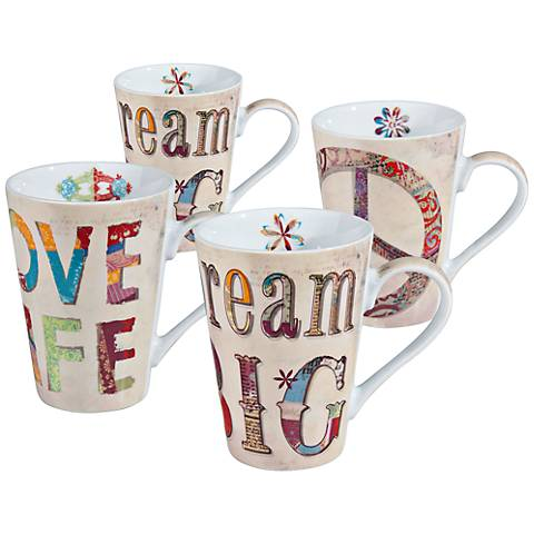 Assorted Typography Mugs Set of 4