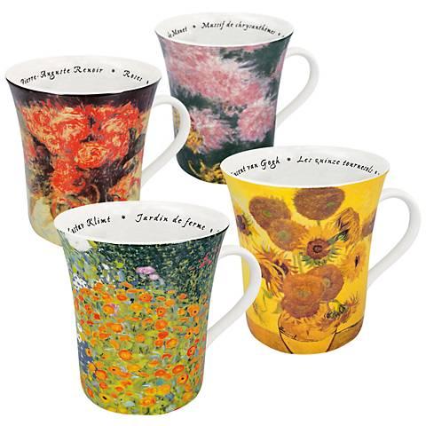 """Assorted """"Les Fleurs Chez Les Peintres"""" Mugs Set of 4"""