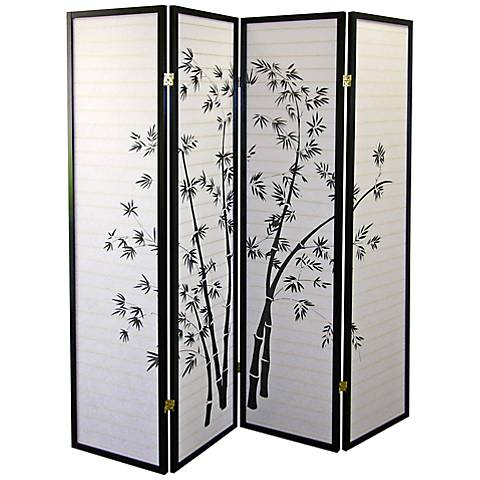 Bamboo Shoji Paper 4-Panel Room Divider