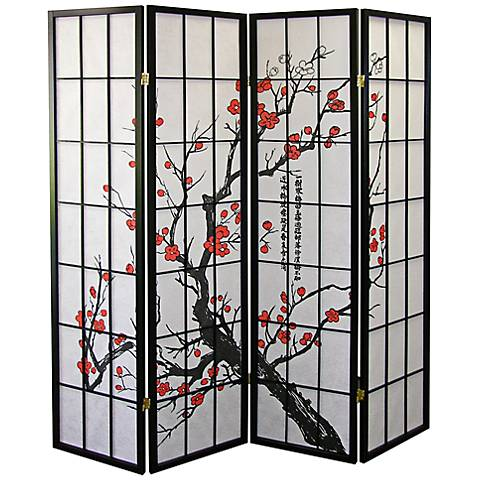 Plum Blossom Shoji Paper 4-Panel Room Divider