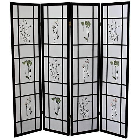 Umi Black 4-Panel Shoji Room Divider Screen
