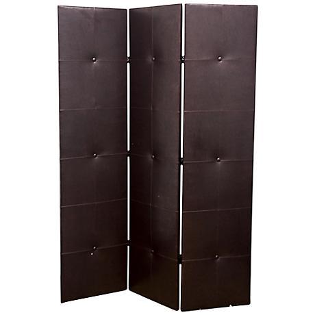 Shneider Black Faux Leather 3-Panel Room Divider
