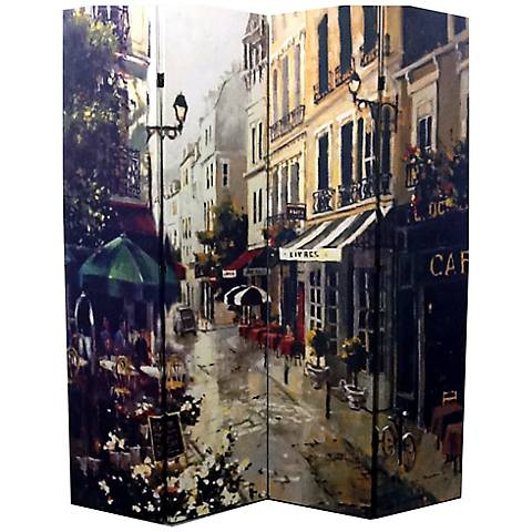 Victorian Town 4-Panel Canvas Room Divider