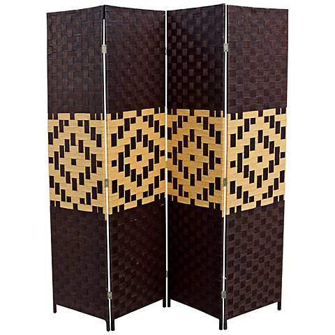 Aselby Espresso Paper Straw Weave 4-Panel Room Divider