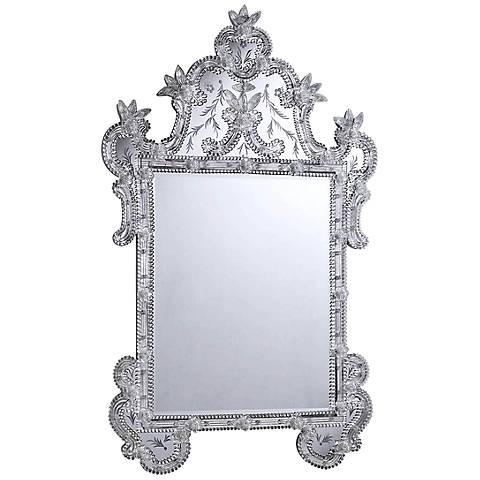 """Rota Etched Glass 30 1/2"""" x 48"""" Silver Wall Mirror"""