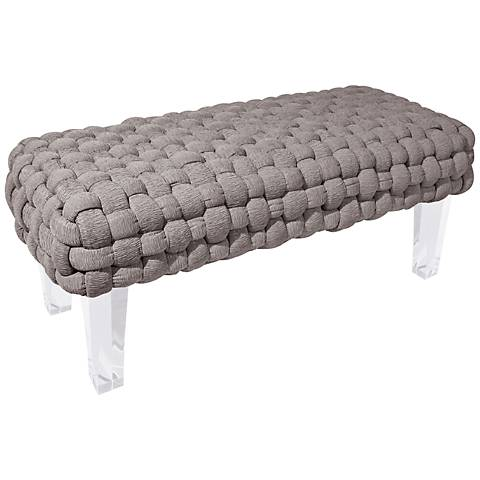 Rojo 16 Plaited Gray Woven Bench