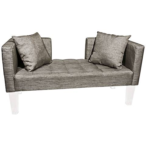 """Rojo 16 St. Tropez 58"""" Wide Accent Pillow Silver Fabric Sofa"""