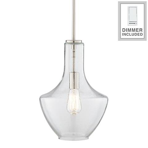 """Everly 10 1/2""""-W Brushed Nickel Pendant Light with Dimmer"""