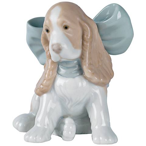 "Nao Puppy Present 4"" Wide Porcelain Sculpture"