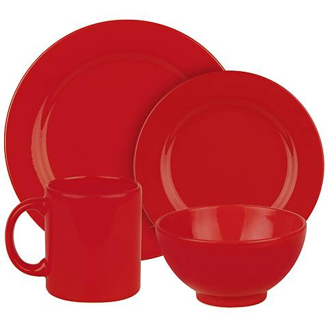 Fun Factory Red Ceramic 16-Piece Place Setting