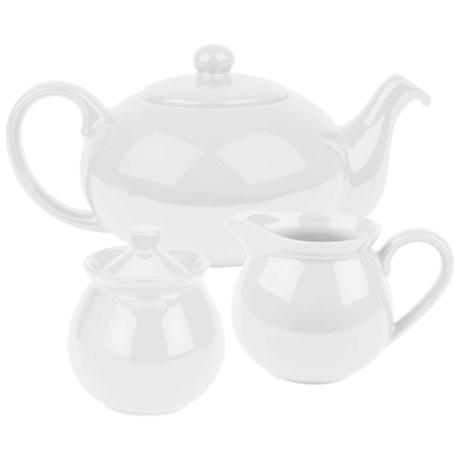 Fun Factory White Ceramic 3-Piece Tea Set