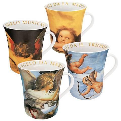 Assorted Angel Porcelain Mugs Set of 4