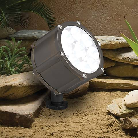 "Kichler Landscape Brass 4 1/4"" High LED Medium Floodlight"