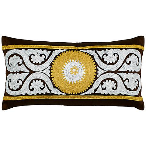 """Brown and Yellow Medallion 21"""" x 11"""" Lumbar Pillow"""