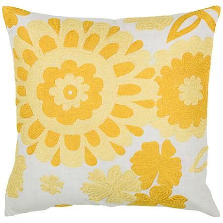 "Yellow and White Floral Medallion 18"" Square Throw Pillow"