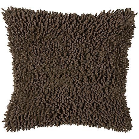 "Mocha Brown 18"" Square Shag Throw Pillow"