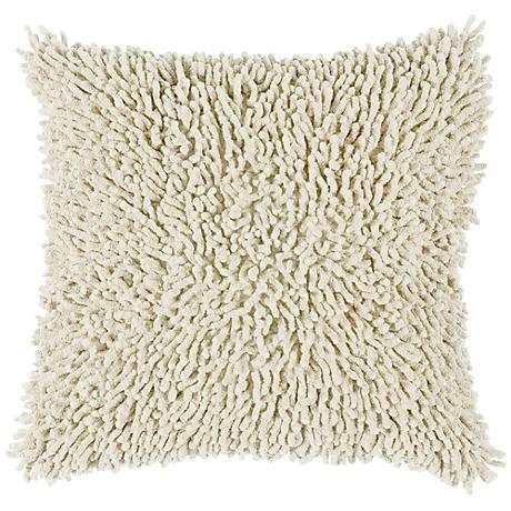 """Cream 18"""" Square Shag Throw Pillow"""