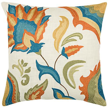 """Floral Embroidered 18"""" Square Throw Pillow"""