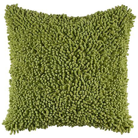 "Citrus Lime Green 18"" Square Shag Throw Pillow"
