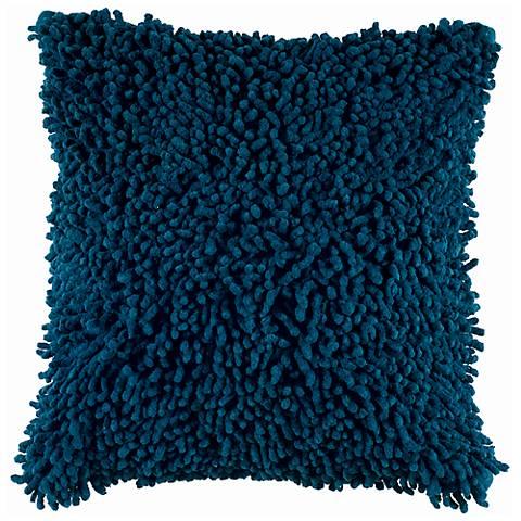 "Peacock Blue 18"" Square Shag Throw Pillow"