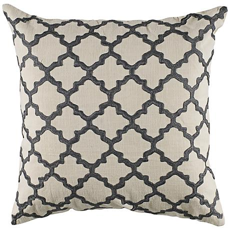 """Gray Embroidered Ivory Geometric 18"""" Square Throw Pillow"""