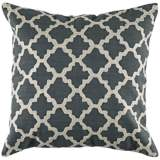"Ivory Embroidered Gray Geometric 18"" Square Throw Pillow"